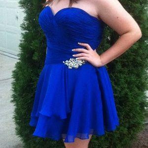 strapless royal blue short prom dress